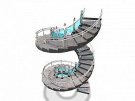Spiral staircase 3d preview