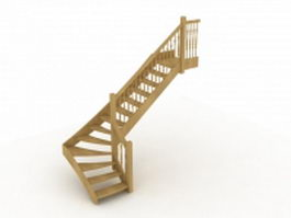 Wood staircase 3d preview