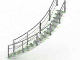 Spiral glass staircase 3d preview