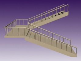 Traditional staircase 3d preview