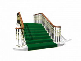 Green stairs 3d preview