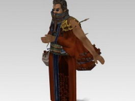 Auron in Final Fantasy 3d model preview