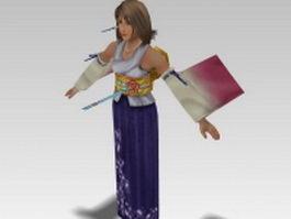 Yuna in Final Fantasy 3d model preview