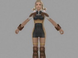 Girl character in Final Fantasy XII 3d model preview