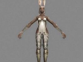 Female Viera warrior 3d model preview