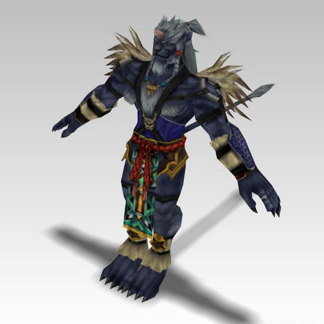 Kimahri Ronso in Final Fantasy X 3d rendering