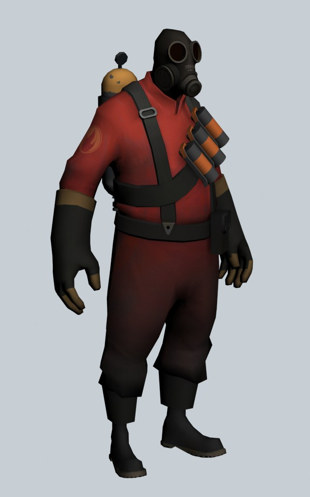 The Pyro - Team Fortress character 3d rendering