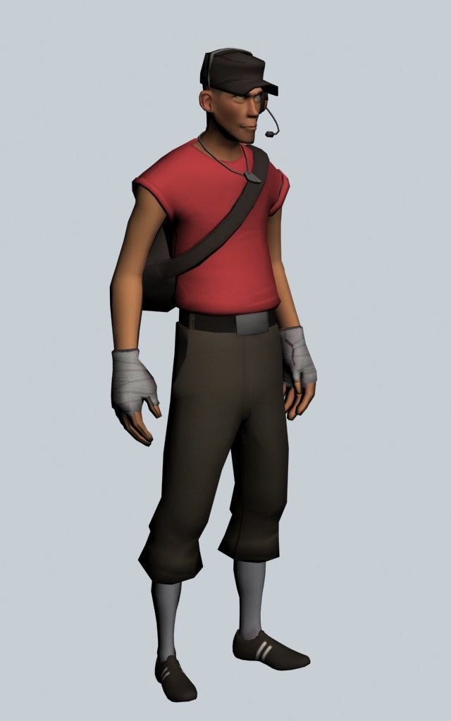 The Scout - Team Fortress character 3d rendering