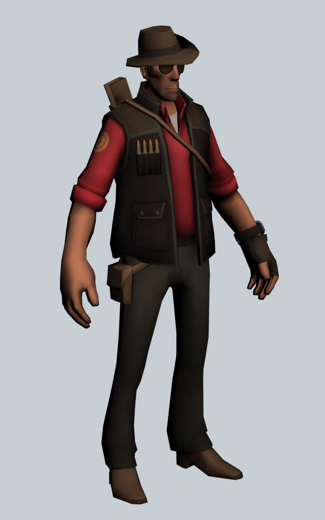 The Sniper - Team Fortress character 3d rendering