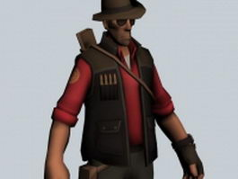 The Sniper - Team Fortress character 3d preview