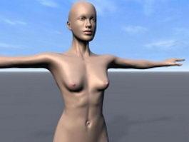 Slim girl model for rigging 3d preview