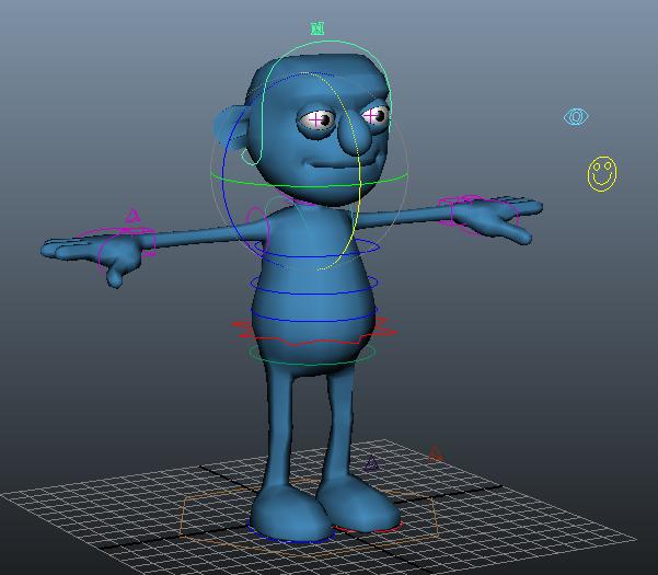 Blue cartoon man rigged 3d rendering