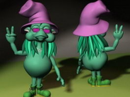 Cartoon witch 3d preview