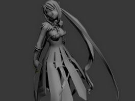 Anime girl rigged & animated 3d model preview