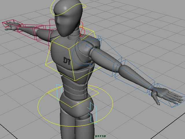 Human robot rigged 3d rendering