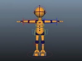 Yellow robot rigged 3d model preview