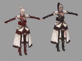 Cute fantasy girl 3d model preview