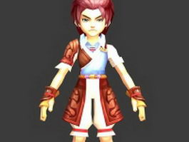 Fantasy boy with red hair 3d model preview