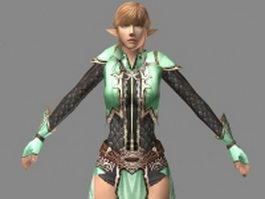 Elf assassin rigged 3d model preview