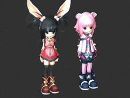 Anime chibi girls 3d model preview