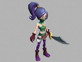 Masked anime heroine 3d model preview