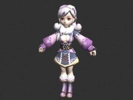 Cute anime chibi girl 3d model preview