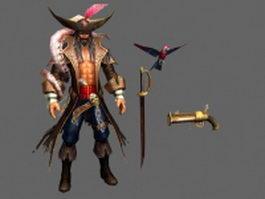 Pirate captain 3d model preview