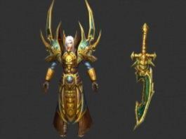 Golden knight 3d model preview