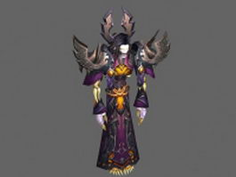 Undead warlock male - WoW character 3d model preview