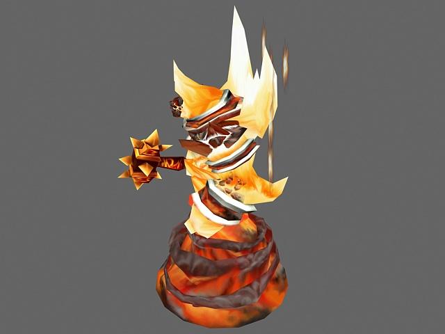 Fire Elemental Creature 3d rendering