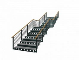 Outdoor metal stairs 3d preview