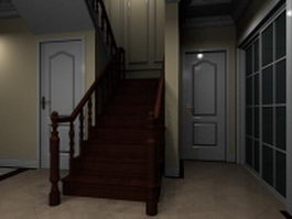 Interior wood stairs 3d preview