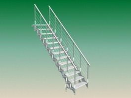 Exterior steel stairs 3d preview
