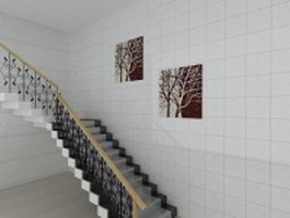 House marble stair 3d preview