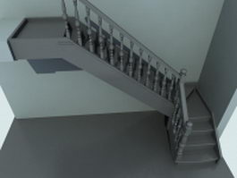Indoor corner stairs 3d preview
