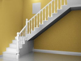 Traditional home staircase 3d preview