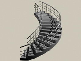 Curved staircase construction 3d preview
