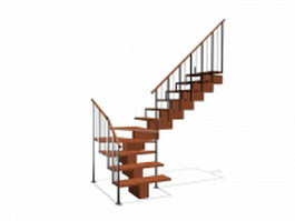 Wooden staircase and railing 3d preview
