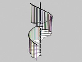 Steel spiral stairs 3d preview
