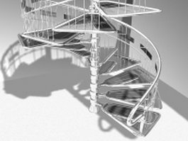 Steel spiral staircase 3d model preview