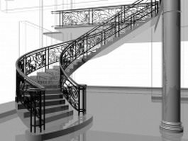 Retro curved stairs 3d preview