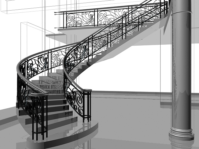 Retro curved stairs 3d rendering