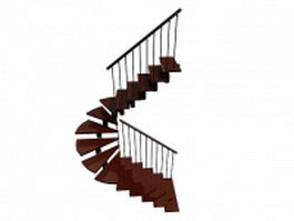 Modern floating stairs 3d model preview