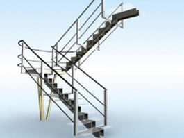 U-shaped glass stairs 3d preview