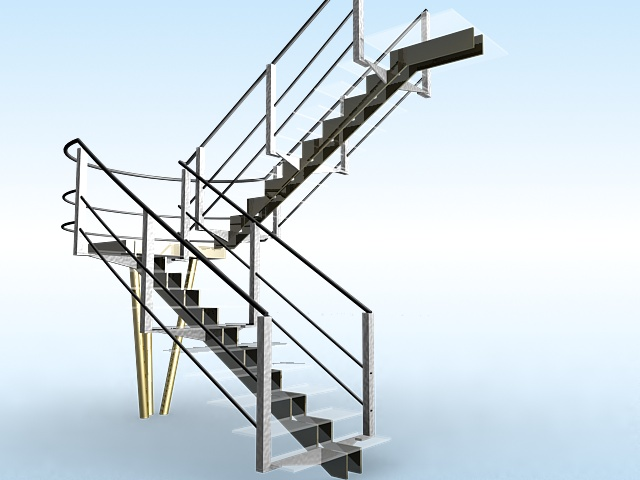 U-shaped glass stairs 3d rendering