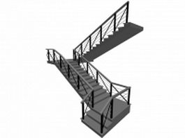 Commercial staircases 3d model preview
