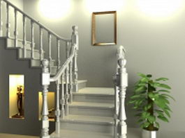 Traditional staircase design 3d preview