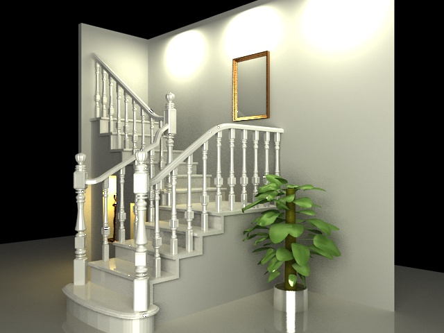 Traditional staircase design 3d rendering