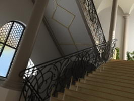 Building interior stairway 3d preview