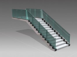 Stone stairway with glass handrails 3d preview